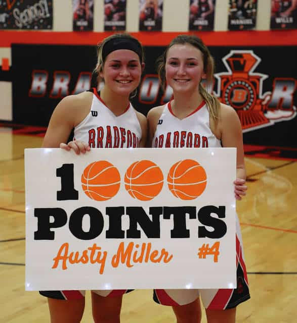 Bradford's Austy Miller (left) scored her 1,000th point Thursday night against Twin Valley South, while Emma Canan (right) broke the school record for assists in a career. Photo Provided by Don Selanders